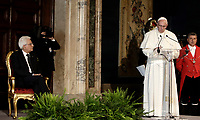 Italian President Sergio Mattarella (l) listens to Pope Francis as he delivers his speech during their meeting at the Quirinale presidential palace, in Rome, on June 10, 2017.<br /> UPDATE IMAGES PRESS/Isabella Bonotto<br /> STRICTLY ONLY FOR EDITORIAL USE