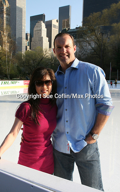 Kristi Yamaguchi & husband Bret Hedican at Skating with the Stars (celebrities & Olympic skaters), a benefit gala for Figure Skating in Harlem on April 6, 2010 at Wollman Rink, Central Park, New York City, New York. (Photo by Sue Coflin/Max Photos)