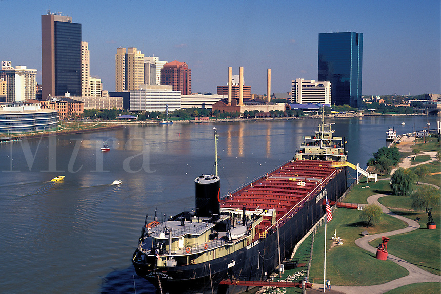Skyline of Toledo, Ohio, Maumee River, S.S. Willis B. Boyer, former Great Lakes ship  now a museum.