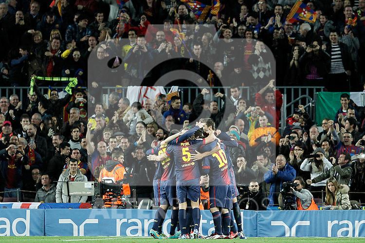 FC Barcelona's players celebrate goal during La Liga match.December 16,2012. (ALTERPHOTOS/Acero)
