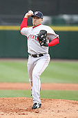 April 30th 2008:  Charlie Zink (16) of the Pawtucket Red Sox, Class-AAA affiliate of the Boston Red Sox, delivers a pitch during a game at Frontier Field  in Rochester, NY.  Photo by Mike Janes/Four Seam Images