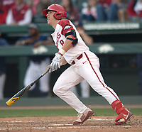 NWA Democrat-Gazette/ANDY SHUPE<br />Arkansas right fielder Eric Cole watches a 3-run home run clear the fence against Kent State Friday, March 9, 2018, during the fourth inning at Baum Stadium in Fayetteville. Visit nwadg.com/photos to see more photographs from the game.