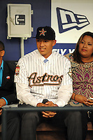 Shortstop Carlos Correa (Puerto Rico Baseball Academy) the number one overall pick to the Houston Astros during the MLB Draft on Monday June 04,2012 at Studio 42 in Secaucus, NJ.  Photo By Tomasso DeRosa/ Four Seam Images