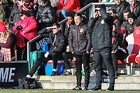 Fleetwood Town Head Physio Luke Bussey (left) on the bench during his last game for the club during the Sky Bet League 1 match between Fleetwood Town and MK Dons at Highbury Stadium, Fleetwood, England on 24 February 2018. Photo by David Horn / PRiME Media Images