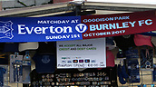 1st October 2017, Goodison Park, Liverpool, England; EPL Premier League Football, Everton versus Burnley;  Everton v Burnley match scarf on sale outside the stadium
