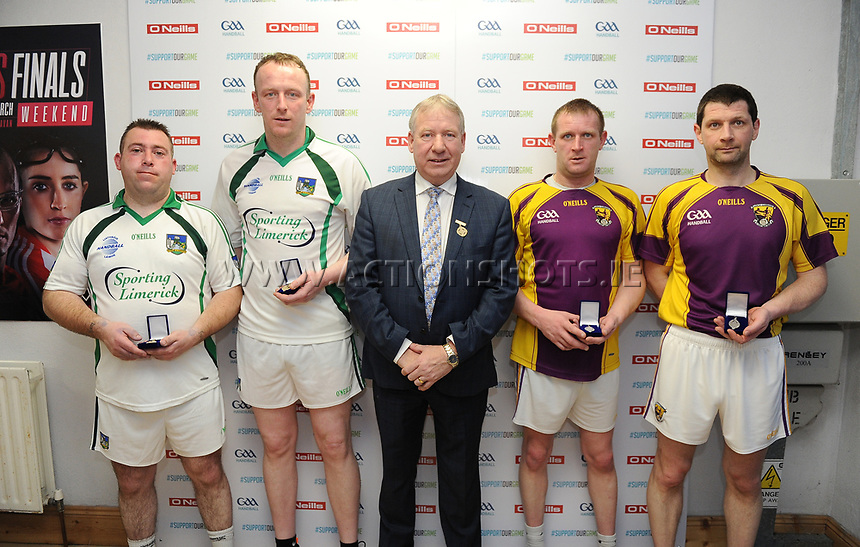 07/04/2018; GAA Handball O&rsquo;Neills 40x20 Championship Finals - Mens Over-35 B. Limerick (Keith Heelan/John Keyes) v Wexford (James Stanners/David Stanners);<br /> The players with GAA Handball President Joe Masterson<br /> Photo Credit: actionshots.ie/Tommy Grealy