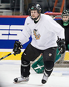 Derrick LaPoint (North Dakota 3) - The 2008 Frozen Four participants practiced on Wednesday, April 9, 2008, at the Pepsi Center in Denver, Colorado.