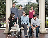 Oxy's 2015 class of new assistant professors includes (clockwise from top left) Adam Schoenberg (music), Justin Li (cognitive science), Amanda Zellmer (biology), Jesse Mora (economics), Ross Lerner (English), and Sarah Kozinn (theater). Photographed on Sept. 15, 2015 on Branca Patio.<br />