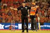 8th January 2018, The WACA, Perth, Australia; Australian Big Bash Cricket, Perth Scorchers versus Melbourne Renegades; The Umpire signals a wide during the Scorchers innings