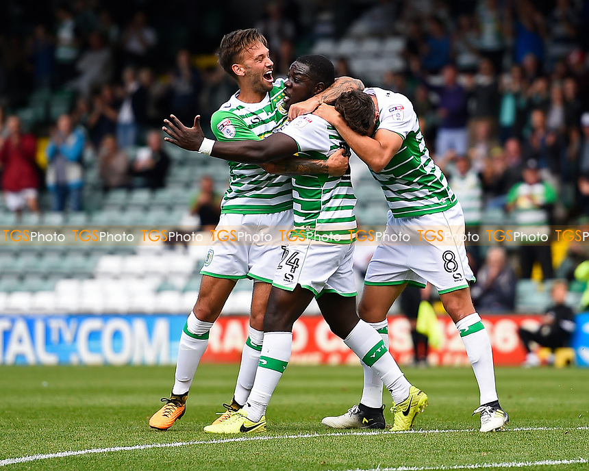 Olufela Olomola of Yeovil Town middle celebrates scoring his first goal  during Yeovil Town vs Accrington Stanley, Sky Bet EFL League 2 Football at Huish Park on 12th August 2017