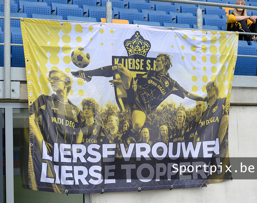 20150514 - BEVEREN , BELGIUM : Flag pictured with Lierse Vrouwen  Lierse Toppers on it during the final of Belgian cup, a soccer women game between SK Lierse Dames and Club Brugge Vrouwen , in stadion Freethiel Beveren , Thursday 14 th May 2015 . PHOTO DAVID CATRY
