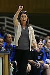 05 November 2015: Duke head coach Joanne P. McCallie. The Duke University Blue Devils hosted the Pfeiffer University Falcons at Cameron Indoor Stadium in Durham, North Carolina in a 2015-16 NCAA Women's Basketball Exhibition game. Duke won the game 113-36.