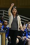 05 November 2015: Duke head coach Joanne P. McCallie. The Duke University Blue Devils hosted the Pfeiffer University Falcons at Cameron Indoor Stadium in Durham, North Carolina in a 2015-16 NCAA Women's Basketball Exhibition game. Duke won the game 113-36.