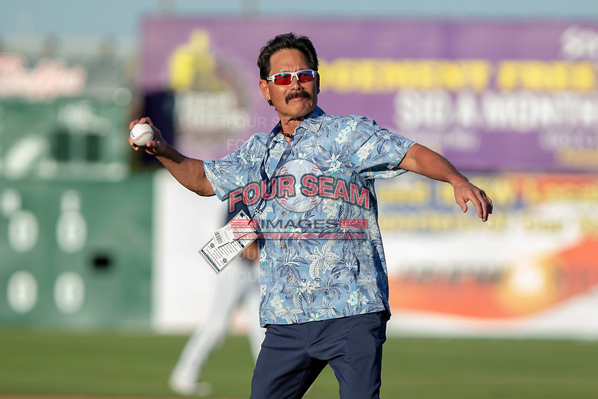 Lenn Sakata throws the ceremonial first pitch prior to the 2018 California League All-Star Game at The Hangar on June 19, 2018 in Lancaster, California. The North All-Stars defeated the South All-Stars 8-1.  (Donn Parris/Four Seam Images)