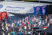 Sep 16, 2016; Concord, NC, USA; NHRA fans surround the pit area of funny car driver Robert Hight during qualifying for the Carolina Nationals at zMax Dragway. Mandatory Credit: Mark J. Rebilas-USA TODAY Sports