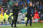 Real Madrid's coach Zinedine Zidane (r) and WfL Wolfsburg's coach Dieter Hecking during Champions League 2015/2016 Quarter-finals 2nd leg match. April 12,2016. (ALTERPHOTOS/Acero)