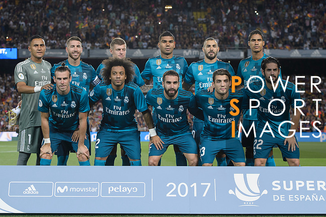 Real Madrid squad pose for team photo during the Supercopa de Espana Final 1st Leg match between FC Barcelona and Real Madrid at Camp Nou on August 13, 2017 in Barcelona, Spain. Photo by Marcio Rodrigo Machado / Power Sport Images
