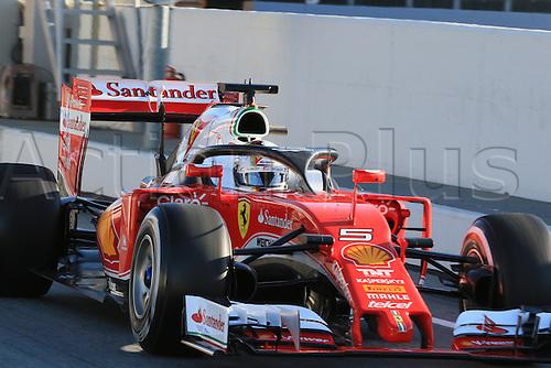 04.03.2016. Circuit de Barcelona Catalunya, Barcelona, Spain, Formula 1  Test 2 Day 4.  Scuderia Ferrari SF16-H – Sebastian Vettel does a lap with the halo