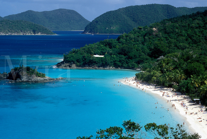 beach, Virgin Islands National Park, St. John, U.S. Virgin Islands, Caribbean, USVI, Scenic view of Trunk Bay Beach in Virgin Islands Nat'l Park on Saint John Island.