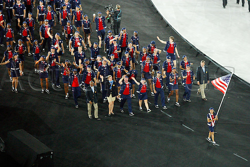 13 August 2004: American flag bearer DAWN STALEY leads athletes from the United States of America on the parade around the stadium during the Opening Ceremony of 2004 Olympic Games held in the Olympic Stadium, Athens, Greece.