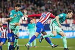 FC Barcelona's midfielder Andre Gomes (L), midfielder Ivan Rakitic (R) and- Atletico de Madrid's defender Vrsaljko (C) competes for the ball with during the match of Copa del Rey between Atletico de  Madrid and Futbol Club Barcelona at Vicente Calderon Stadium in Madrid, Spain. February 1st 2017. (ALTERPHOTOS/Rodrigo Jimenez)