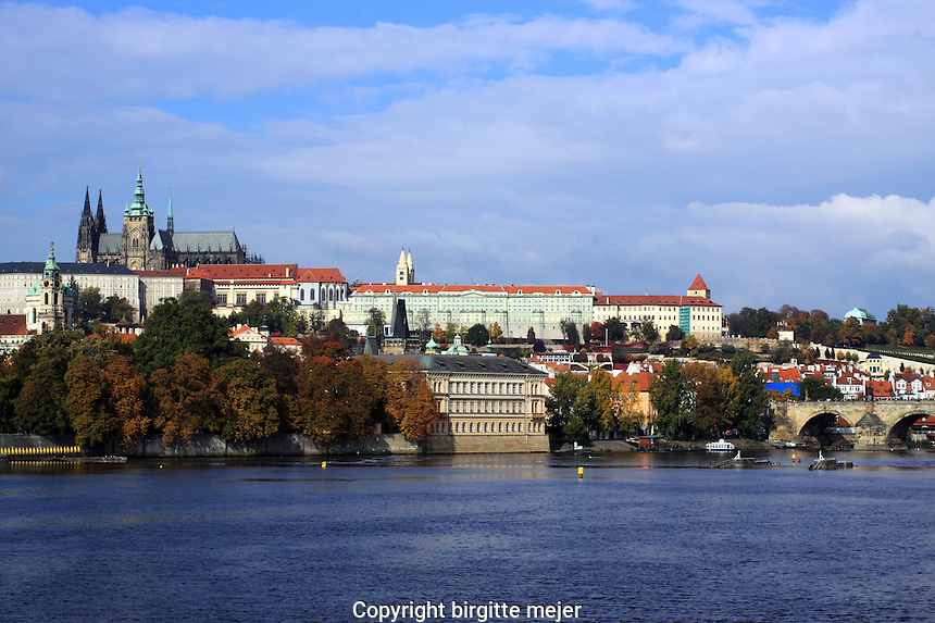 View towards Prague Palace, with the Charles to the right.
