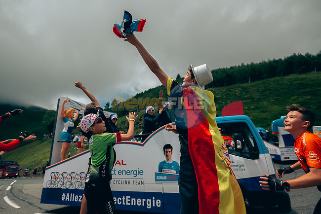 The publicity caravan passes before the race arrives on Stage 12 of the 2019 Tour de France running 209.5km from Toulouse to Bagneres-de-Bigorre, France. 18th July 2019.<br /> Picture: ASO/Thomas Maheux | Cyclefile<br /> All photos usage must carry mandatory copyright credit (© Cyclefile | ASO/Thomas Maheux)