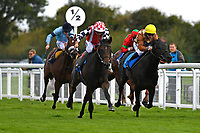 Winner of The Become a Wiltshire Freemason EBF Novice Stakes,Jamil(red cap) ridden by Andrea Atzeni and trained by Roger Varian  during Afternoon Racing at Salisbury Racecourse on 4th October 2017