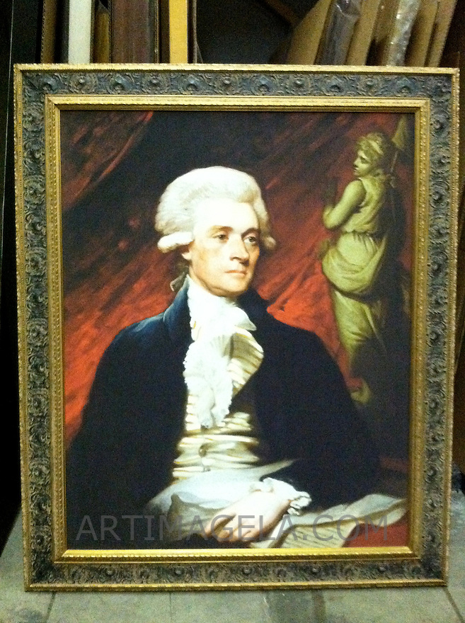 Reproduction Of  Mather Brown (1761-1831)<br /> Thomas Jefferson. Oil on canvas, 90.8 x 72.4 cm, 1786. Bequest of Charles Francis Adams.<br /> Location: National Portrait Gallery, Smithsonian Institution, Washington <br /> Reproduction Stretcher Size 35 3/4 &quot; x  28 1/2&quot; Plus Frame Portrait from the National Portrait Gallery