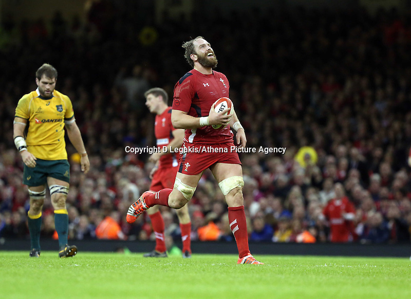 Pictured: Sam Warburton of Wales stops running after the match referee stops the game. Saturday 08 November 2014<br /> Re: Dove Men Series rugby, Wales v Australia at the Millennium Stadium, Cardiff, south Wales, UK.