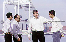 John Urban, Aaron Omid Sasson, Vijay Sundaram, and Anil Nair of Tradiant Tradiant is now called GT Nexus.  Gtnexus.com: Executive portrait photographs by San Francisco - corporate and annual report - photographer Robert Houser.