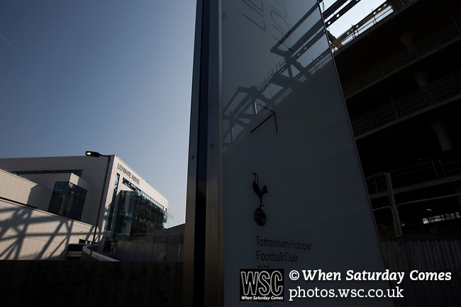 Tottenham Hotspur 4 Watford 0, 08/04/2017. White Hart Lane, Premier League. The new club offices at Lilywhite House, pictured before Tottenham Hotspur took on Watford in an English Premier League match at White Hart Lane. Spurs were due to make an announcement in April 2016 regarding when they would move out of their historic home and relocate to Wembley as their new stadium was completed. Spurs won this match 4-0 watched by a crowd of 31,706, a reduced attendance figure due to the ongoing ground redevelopment. Photo by Colin McPherson.