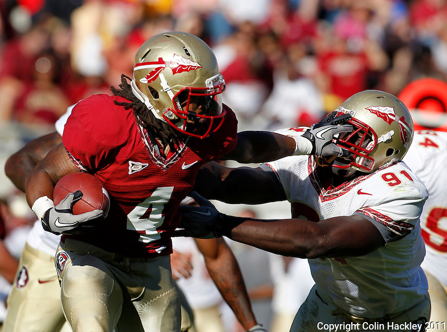 TALLAHASSEE, FLA. 4/16/11-FSUG&G041611 CH-Garnet's Devonta Freeman gives Gold's Tank Carradine a face full of fingers during second half action in the Florida State University Garnet and Gold game Saturday in Tallahassee. Garnet beat Gold 19-17..COLIN HACKLEY PHOTO