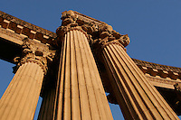 North America, United States of America, California, San Francisco, Columns of The Palace of Fine Arts in the Marina District, &copy;Stephen Blake Farrington<br />