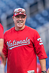 28 April 2017: Washington Nationals Hitting Coach Rick Schu smiles during batting practice prior to a game against the New York Mets at Nationals Park in Washington, DC. The Mets defeated the Nationals 7-5 to take the first game of their 3-game weekend series. Mandatory Credit: Ed Wolfstein Photo *** RAW (NEF) Image File Available ***