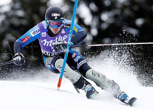 20.01.2013. Wengen, Switzerland.  Ski Alpine FIS World Cup Slalom for men Picture shows David Chodounsky USA