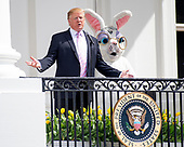 United States President Donald J. Trump makes opening remarks as he and First lady Melania Trump participate in the White House Easter Egg Roll on the South Lawn of the White House in Washington, DC on April 22, 2019.  The White House Easter Egg Roll is a tradition that dates from 1878 and the presidency of US President Rutherford B. Hayes.<br /> Credit: Ron Sachs / CNP<br /> (RESTRICTION: NO New York or New Jersey Newspapers or newspapers within a 75 mile radius of New York City)