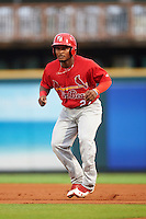 Palm Beach Cardinals shortstop Juan Herrera (27) leads off first during a game against the Bradenton Marauders on August 9, 2016 at McKechnie Field in Bradenton, Florida.  Bradenton defeated Palm Beach 8-7.  (Mike Janes/Four Seam Images)
