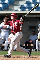 Hunter Lockwood (23) of the Oklahoma Sooners bats against the Pepperdine Waves at Eddy D. Field Stadium on February 18, 2012 in Malibu,California. Pepperdine defeated Oklahoma 10-0.(Larry Goren/Four Seam Images)