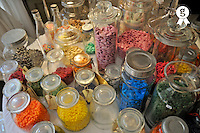 Sweets and sugared almond jars on table (Licence this image exclusively with Getty: http://www.gettyimages.com/detail/90430497 )