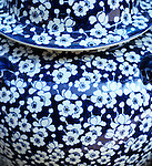 Blue Vase - Blue and white floral design on glazed vase at the ceramics market, Bat Trang pottery village, Hanoi, Viet Nam