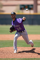 Colorado Rockies relief pitcher Alec Byrd (14) delivers a pitch to the plate during an Extended Spring Training game against the Chicago Cubs at Sloan Park on April 17, 2018 in Mesa, Arizona. (Zachary Lucy/Four Seam Images)