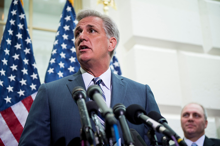 UNITED STATES - JULY 9: House Majority Leader elect Kevin McCarthy, R-Calif., with House Majority Whip elect Steve Scalise, R-La., looking on, speaks during the House GOP leadership media availability after the House Republican Conference meeting in the basement of the Capitol on Wednesday, July 9, 2014. (Photo By Bill Clark/CQ Roll Call)