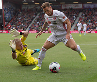 Bournemouth's Artur Boruc (left) blocks Sheffield United's Billy Sharp (right) <br /> <br /> Photographer David Horton/CameraSport<br /> <br /> The Premier League - Bournemouth v Sheffield United - Saturday 10th August 2019 - Vitality Stadium - Bournemouth<br /> <br /> World Copyright © 2019 CameraSport. All rights reserved. 43 Linden Ave. Countesthorpe. Leicester. England. LE8 5PG - Tel: +44 (0) 116 277 4147 - admin@camerasport.com - www.camerasport.com