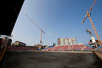 The football pitch being replaced in the Stade du Pays de Charleroi football stadium from the Sporting Charleroi club in Charleroi (Belgium, 13/07/2013)