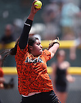 Douglas Tigers' Kali Sargent pitches against the Galena Grizzlies in a first round game of the NIAA northern region softball tournament in Reno, Nev., on Thursday, May 15, 2014. Galena won 5-4.<br /> Photo by Cathleen Allison