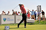 30 August 2009: Steve Marino tees off on the 3rd hole during the final round of The Barclays PGA Playoffs at Liberty National Golf Course in Jersey City, New Jersey.