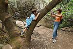 Israel, Upper Galilee. Hedi and Noam in Tel Dan Nature Reserve