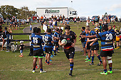 Nathan Sunde leads the Onewhero side out for the Counties Manukau Premier Club rugby game between Te Kauwhata and Onewhero, played at Te Kauwhata on Saturday April 16th 2016. Onewhero won the game 37 - 0 after leading 13 - 0 at Halftime. Photo by Richard Spranger.