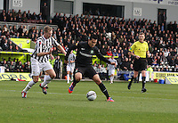 Nicholas Fedor shields the ball from Marc McAusland in the St Mirren v Celtic Clydesdale Bank Scottish Premier League match played at St Mirren Park, Paisley on 20.10.12.